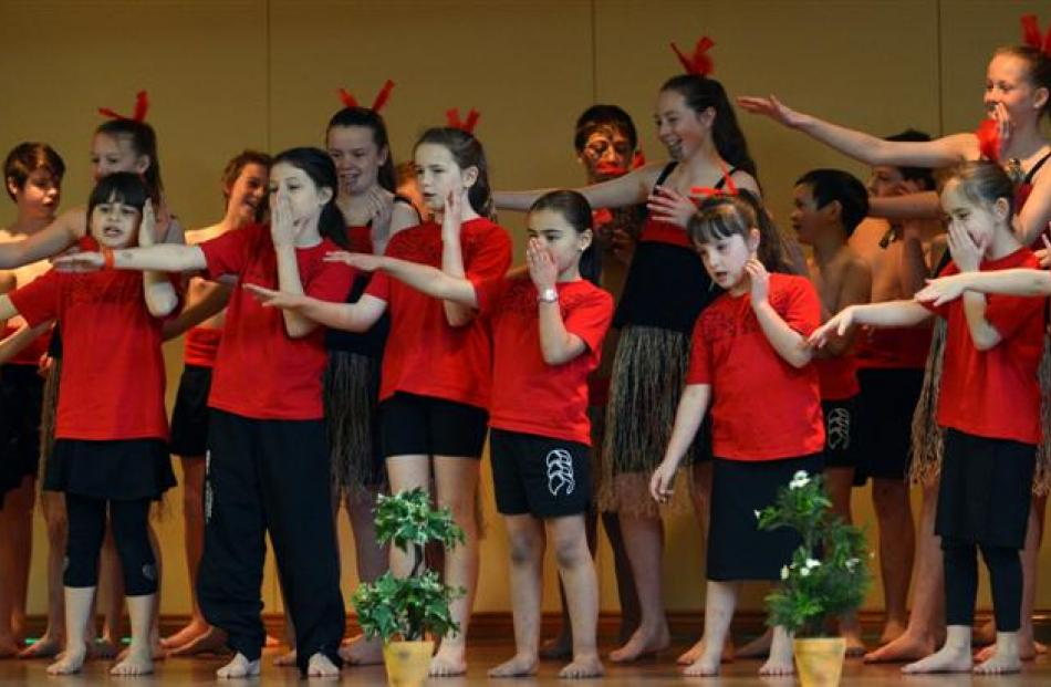 Pupils from Fairfield School perform during the Taieri Schools Kaupapa Maori Festival Hui Ako.