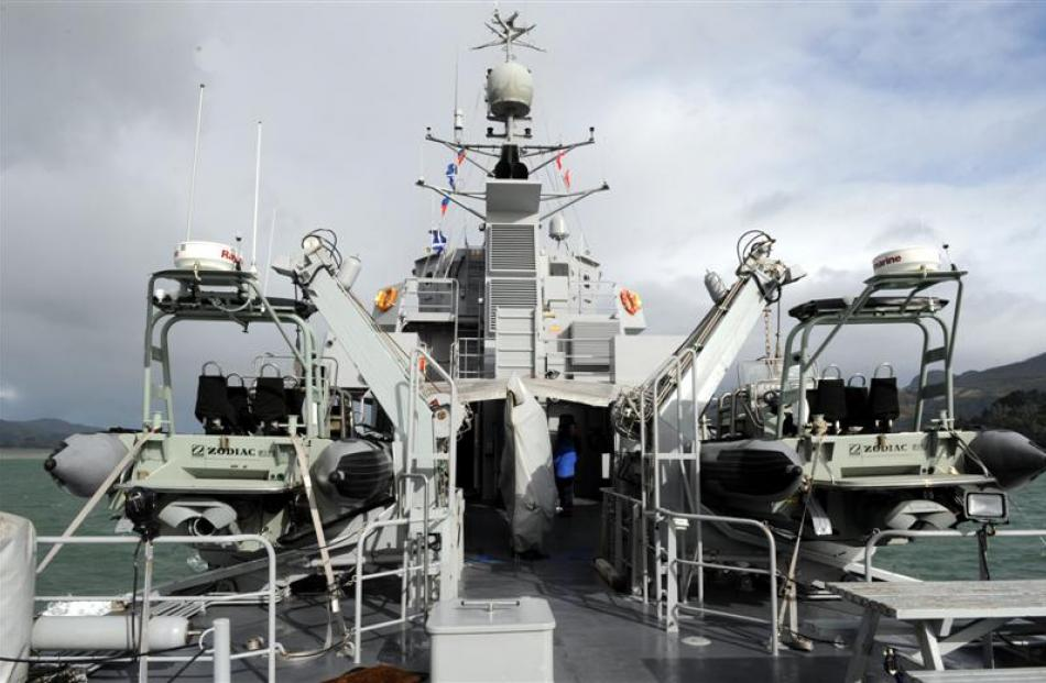A view of the rigid-hulled inflatable boats on HMNZS Rotoiti.