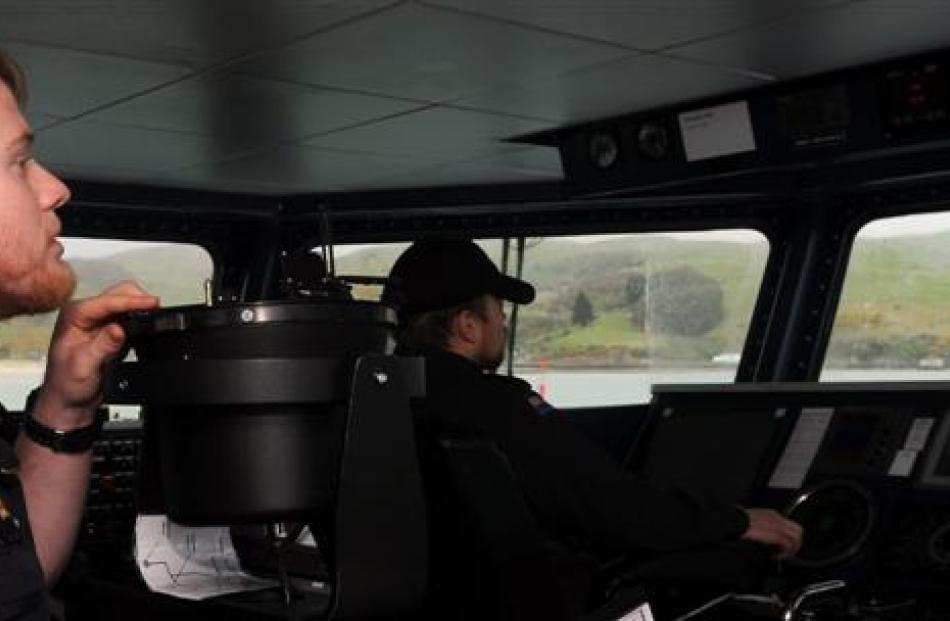 Sublieutenant Trent Nancekivell on the bridge of  HMNZS Rotoiti. Photos by Craig Baxter.