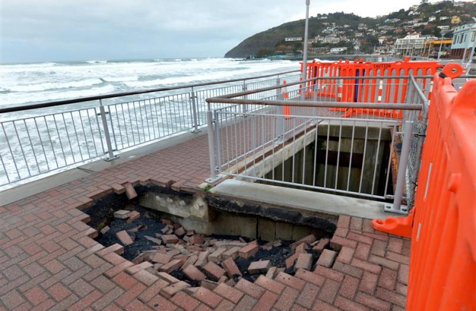 The hole in the Esplanade that appeared on Thursday.