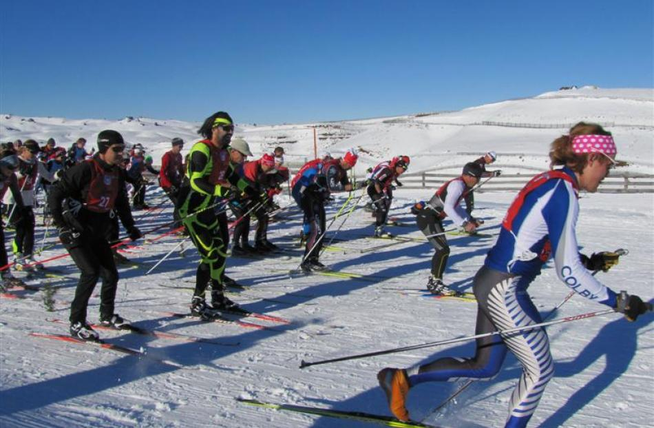 Competitors in the Merino Muster, at the Snow Farm, Cardrona, hit the 42km trail. Photos by Mark...
