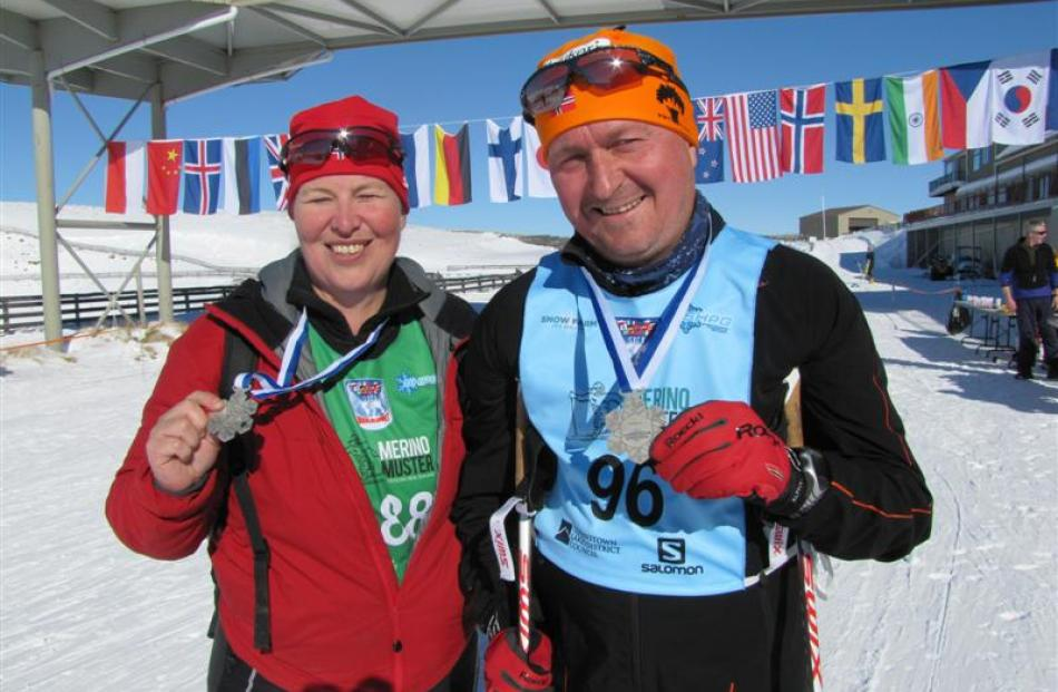 Imenerd Boem and Sverre Haeve, of Norway, at the Snow Farm, Cardrona, on the Worldloppet trail.