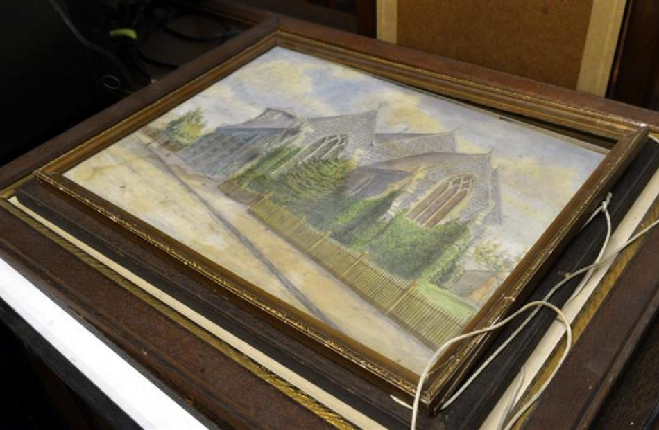 A watercolour painting, of the old St Paul's church, in need of conservation.