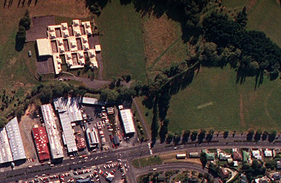 The classroom pods are visible at top in this 2001 aerial photo.
