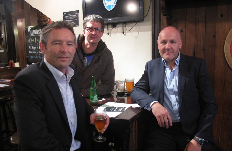 Friends (from left) Phil Mayo, Chris Hlavac and Travis Atkinson in Auckland yesterday.