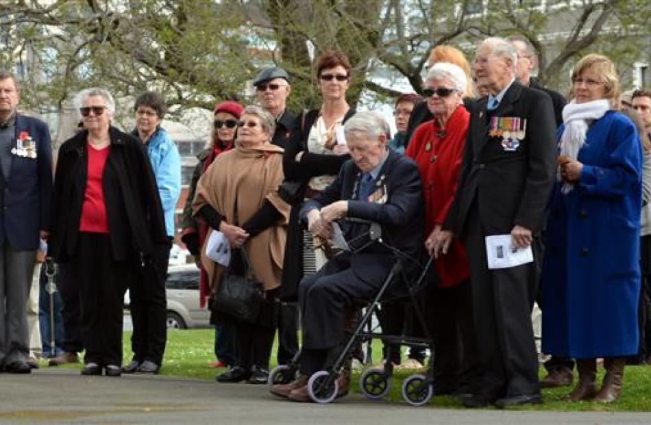 More than 100 people gathered at the Cenotaph. Photos by Peter McIntosh.