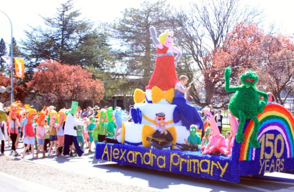 Alexandra Primary School pupils with their 'The Muppets Celebrate 150 Years' float.
