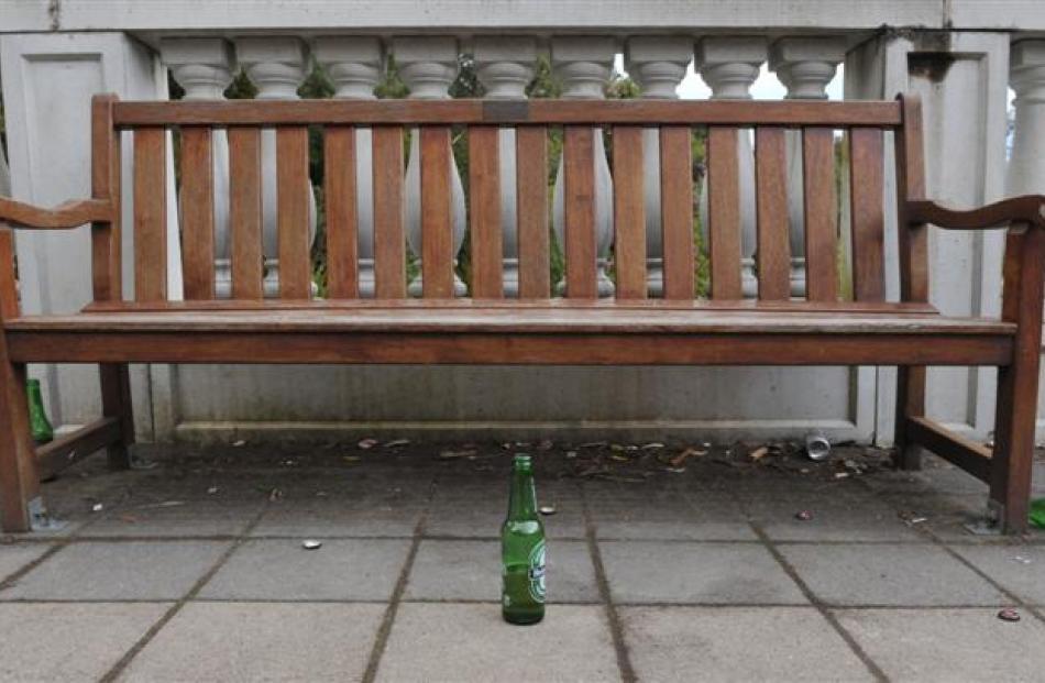 Bottles left in the Mediterranean garden.