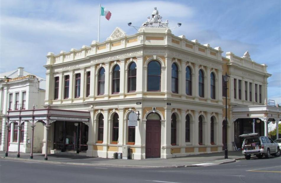 The present building showing the additions made in 1874 to the top storey (left) and the two...
