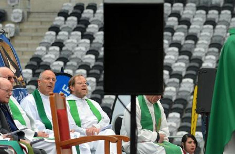 Fr Gerard Aynsley speaks during the service.