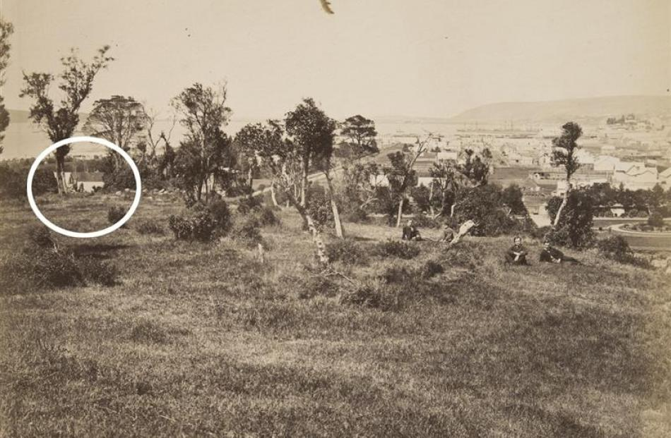 The Cook family home (circled) in a photo taken by J. W. Allen in the late 1860s. The photo was...