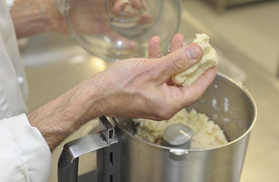 Making the marzipan.