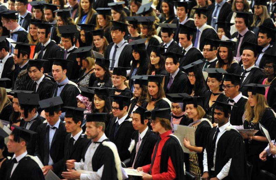 Graduands take part in the first of two University of Otago graduation ceremonies at the Dunedin...
