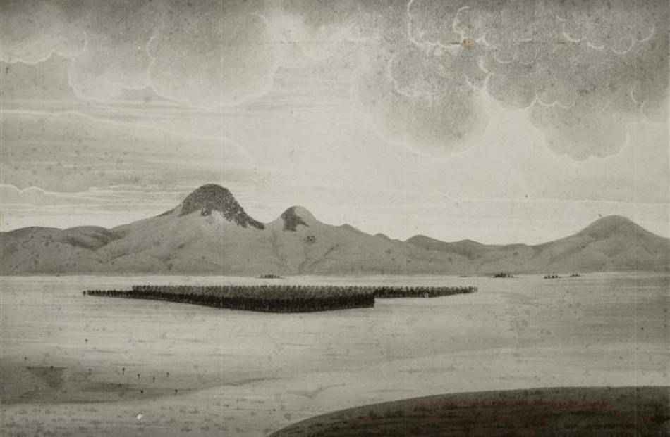 ''Taieri Bush and Saddle Hill'', 1856, by John Buchanan, Ref: E-207-q-032