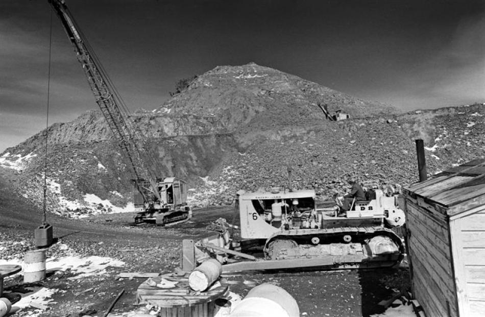 large-scale quarrying on the hill in 1969.