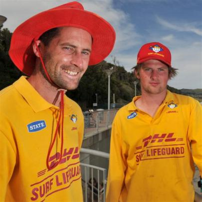 St Clair Surf Life Saving Club volunteers James Coombes (left) and James Rolfe helped save two...