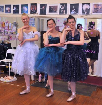 Ballerinas (from left) Claudia Sole (17), Amber Swaney (20) and Elizabeth Eathorne-Gould (19)...