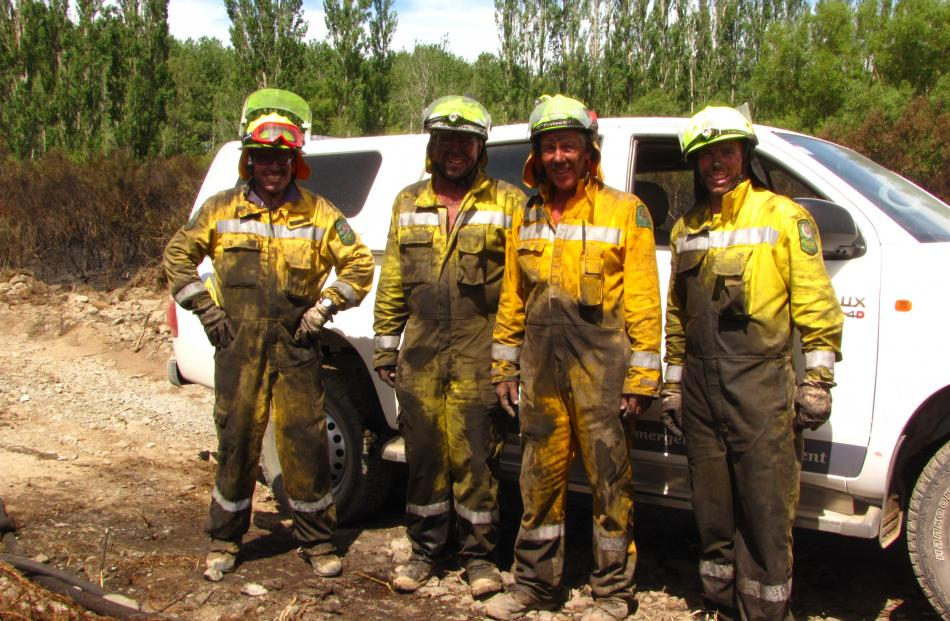 Alford Forest volunteer firefighters (from left) Simon Metcalf, Kerry Smith, Graeme Smith and...