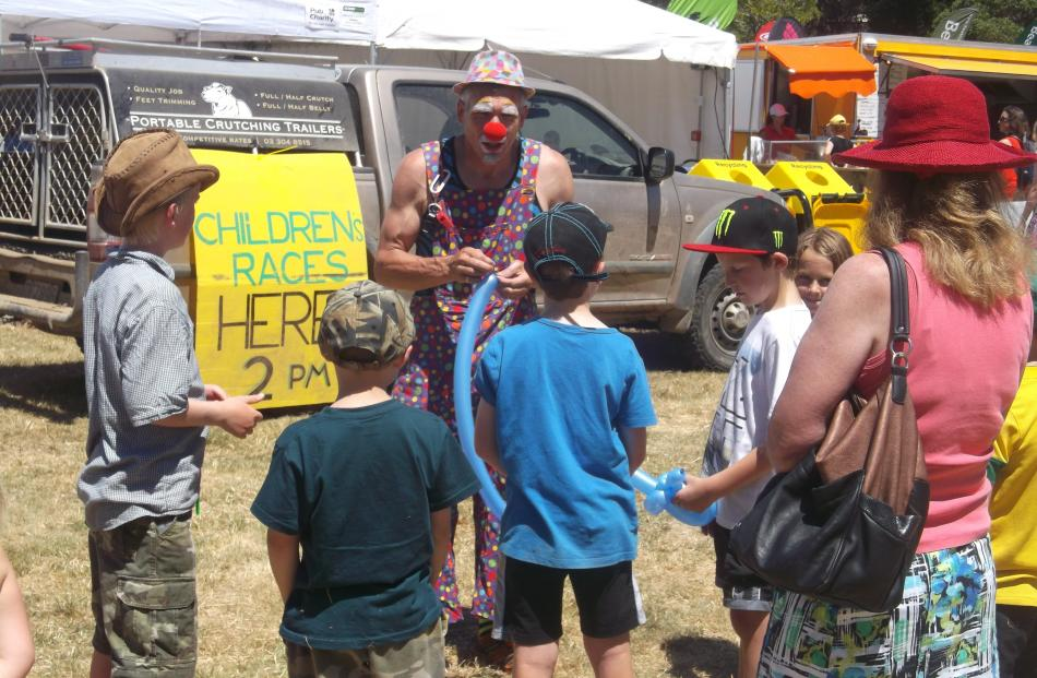 Okey Dokey the Clown entertains children at the Duvauchelle A&P Show on Saturday, January 10.