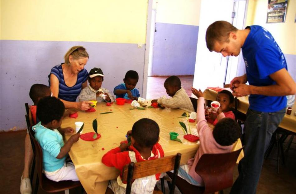 A preschool session at Akany Avoko. Wyn Barbezat is at left.