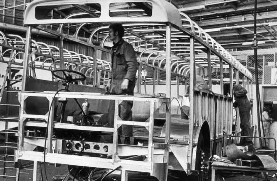 Building a body on a Leyland Leopard chassis for the council, about 1975-1977.