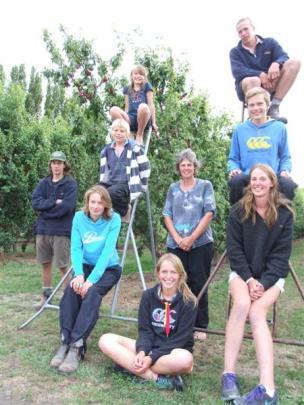 (From left) Alistair (16) Ellen (19), Brian (11),  Heather (9), Geraldine (18), Julie,  Irene (20...