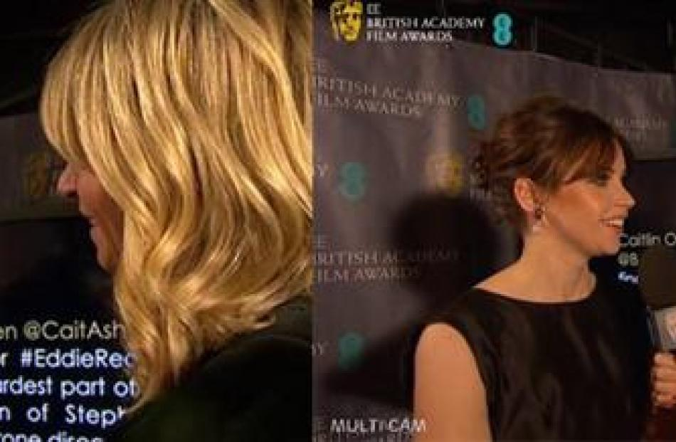 Her tweet can be seen in the background while a reporter questions Redmayne (left panel) and co...