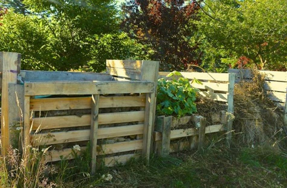 Wooden pallets in action in this three-bay compost system.