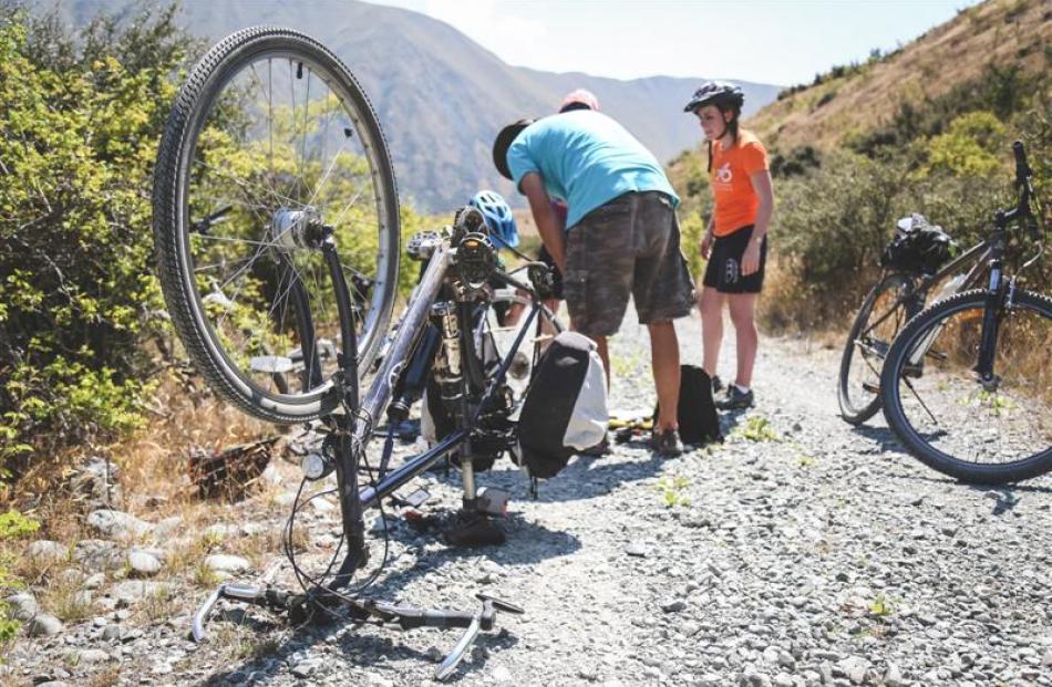 A flat tyre.