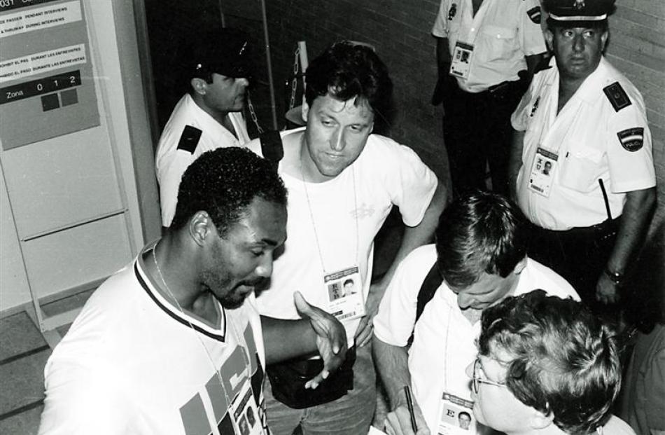 Basketball writer John Saker interviewing NBA legend Karl Malone in Barcelona in 1992.