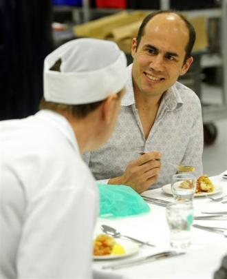 Riverstone Kitchen head chef  Bevan  Smith (right) samples the food with Dunedin Hospital sous...