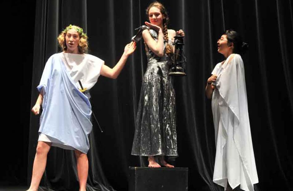 Performing a scene from A Midsummer Night's Dream are (from left) Katerina Thompson, Sophie O...