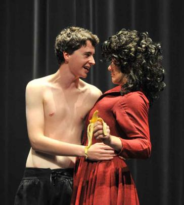 Scott Christie (left) and Theo Christensen in Taieri College's The Taming of the Shrew.