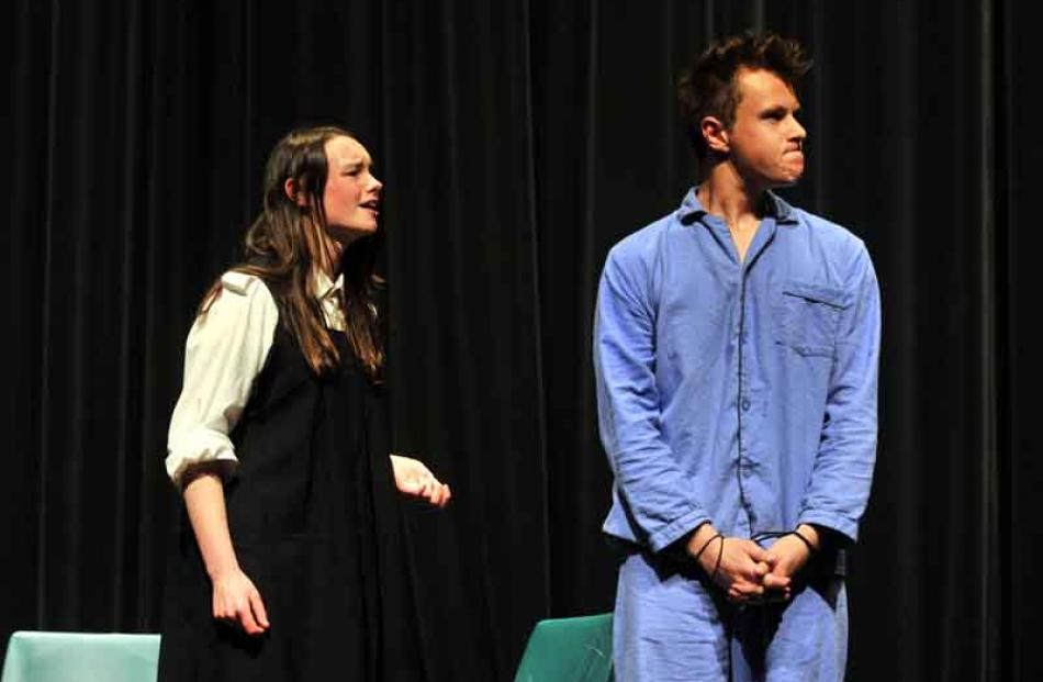 Tia Hibbert and Joshua Croucher, from Logan Park High School, in a scene from Measure for Measure.