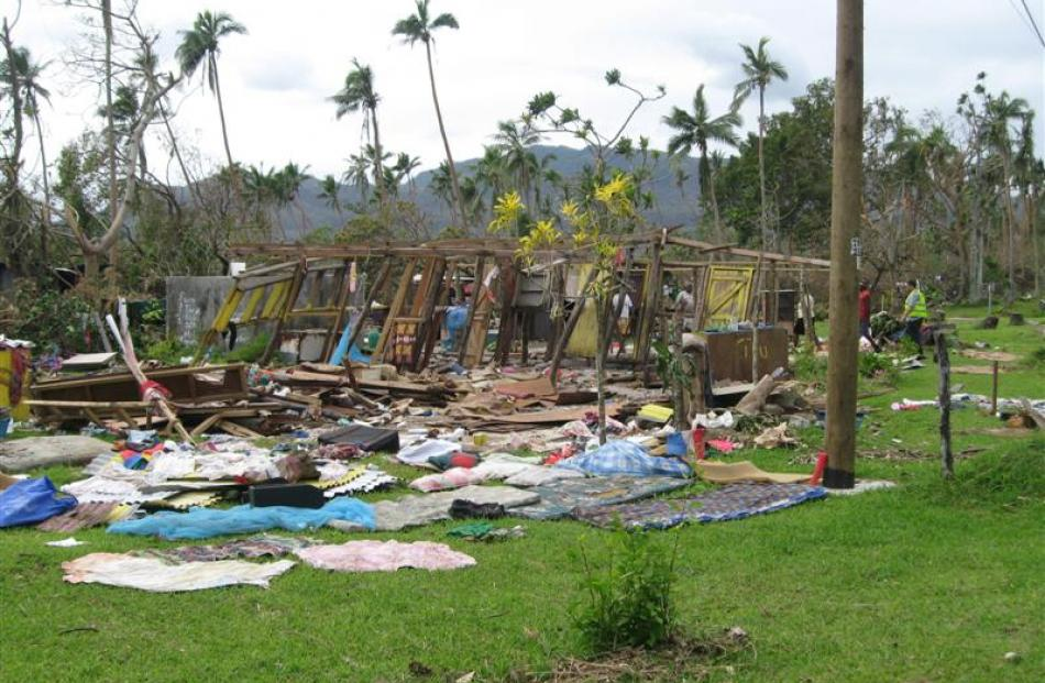 A ruined dwelling in Vanuatu following the cyclone.