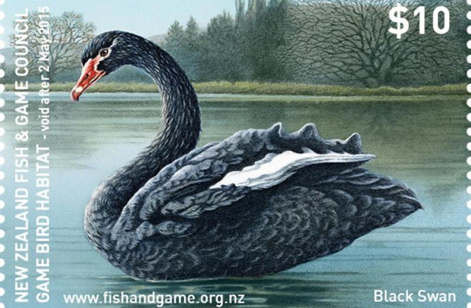 The Black Swan stamp. Photo supplied.
