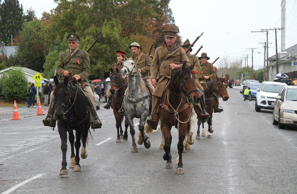 Catlins Canter joined  the  parade to begin 2015 The Anzac Connection in Balclutha yesterday.