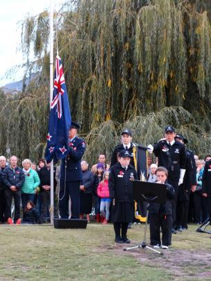 Bugler Hamish McLean (15) during the inaugural Wanaka Anzac Day dawn service.