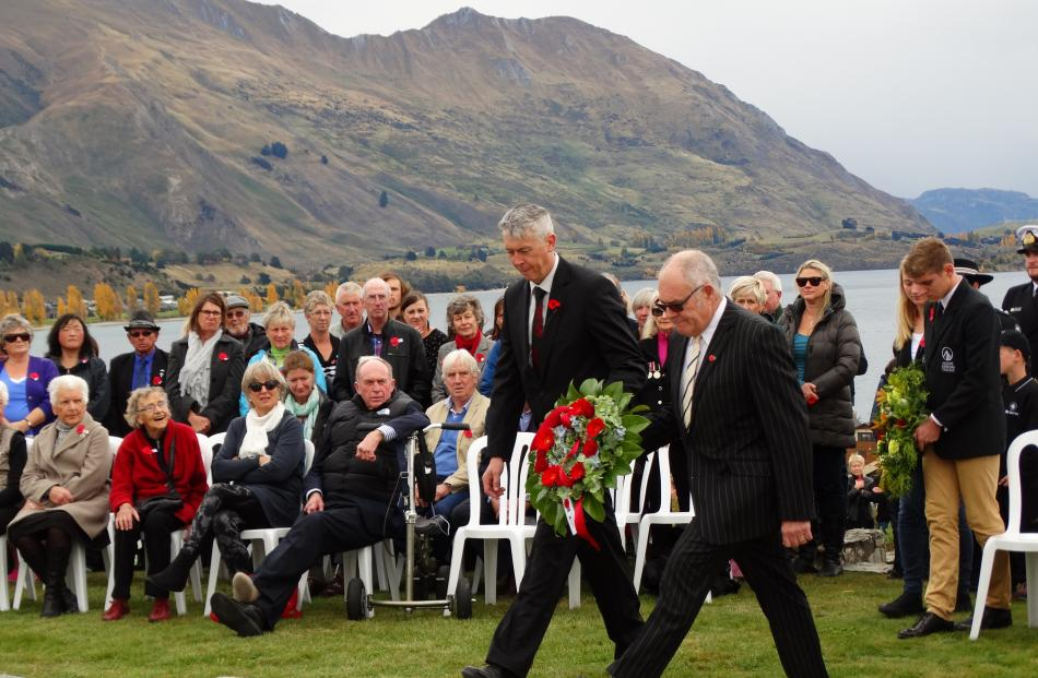 Queenstown Lakes district councillor Calum MacLeod (left) and Wanaka Community Board member Ross...