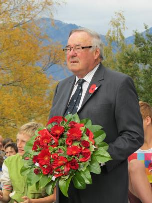 Queenstown Lakes District councillor Simon Stamers-Smith with a wreath he laid at the Arrowtown...
