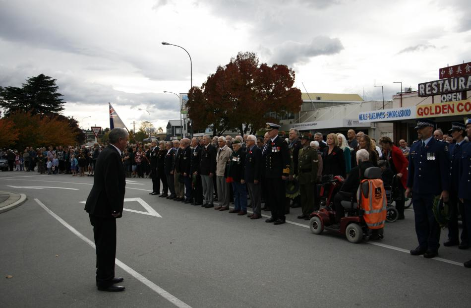 Alexandra-Clyde RSA president Kevin Harding commands the Anzac parade in Alexandra. PHOTO: LIAM...