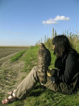 Helen Macdonald with Mabel, the goshawk. Photos supplied.
