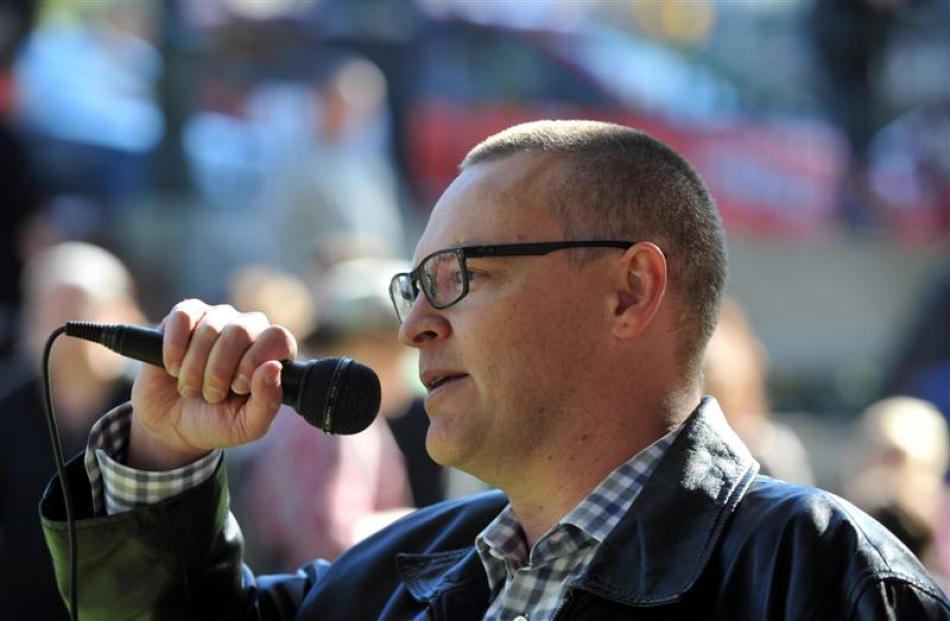 Dunedin North MP David Clark speaks in support of the protest.