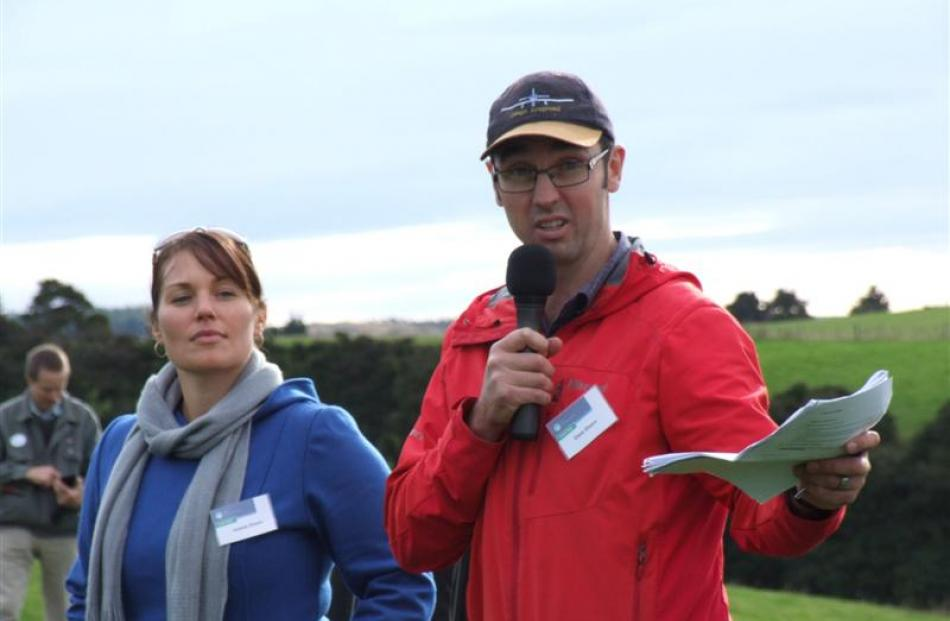Otago Ballance Farm Environment Awards winners Janene and Dave Divers address a field day at...