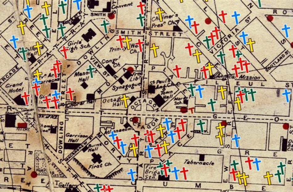 Map of central Dunedin showing where World War 1 casualties from the city lived. The map was...