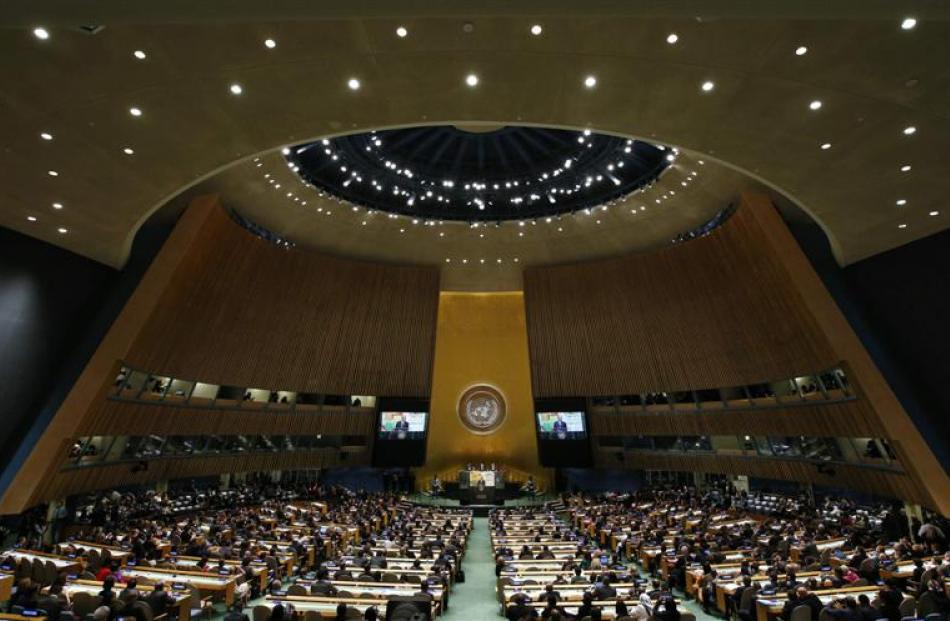 US President Barack Obama speaks during a United Nations climate summit in New York last...