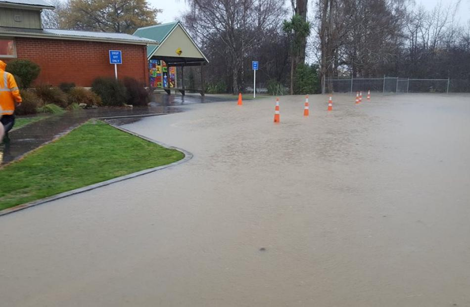 Flooding at East Taieri School. Photo from Facebook