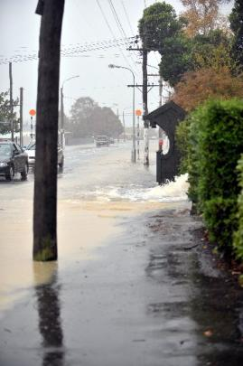 Flooding in Forbury, South Dunedin.