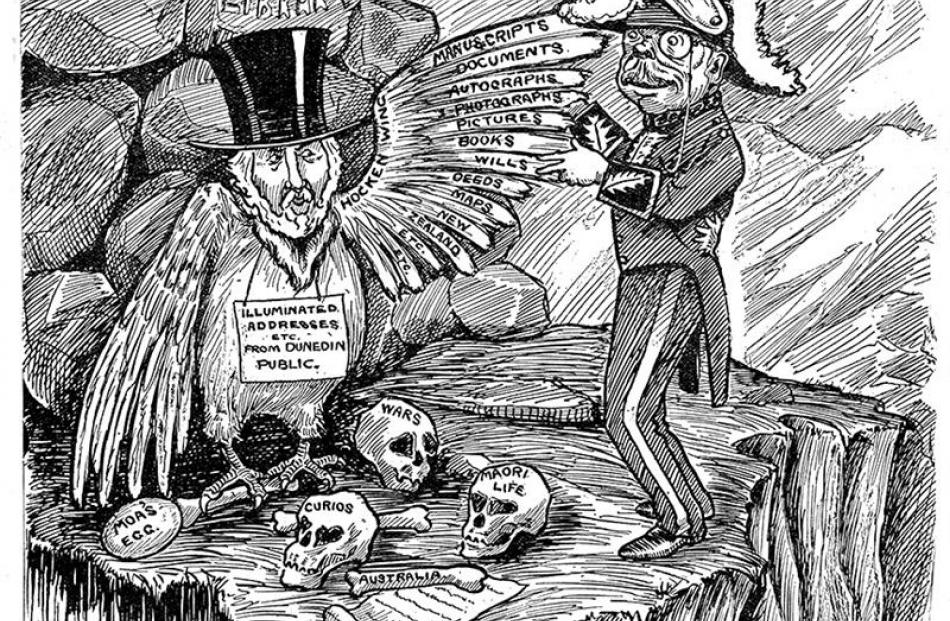 A P. Reid cartoon depicting Hocken as ''a rare bird . . . shedding rare gifts'' appeared in the...