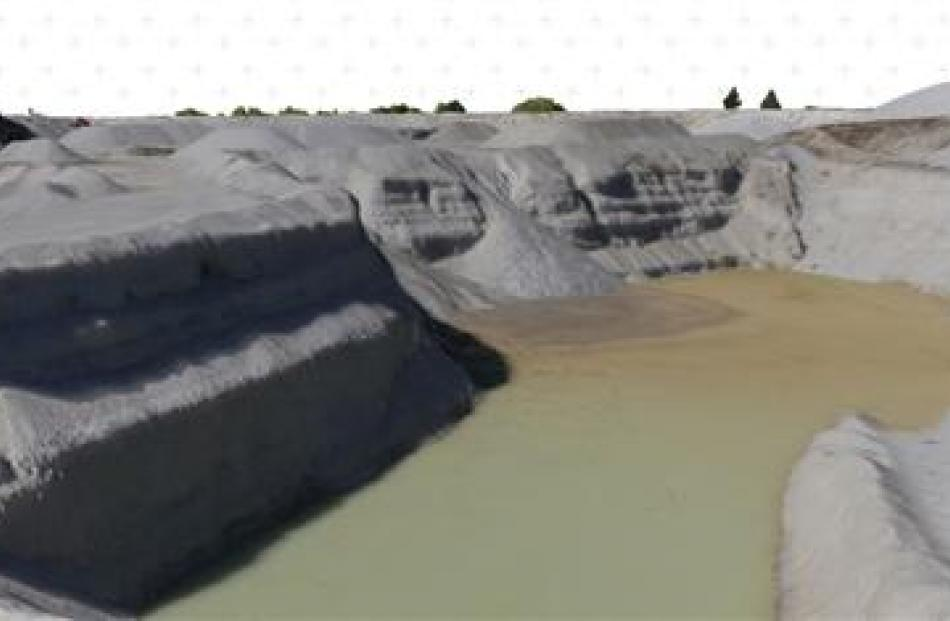 3-D imagery of a Central Otago quarry pond, collated from aerial photographs. Image supplied.